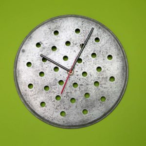 Round dotted wall clock Square Upcycling
