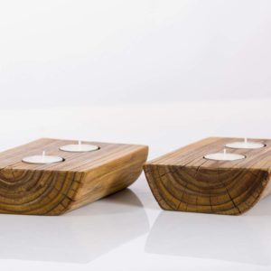 Tealight holder made of cherry wood Square Upcycling