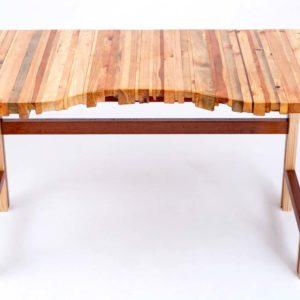 Unikalne upcyclingowe biurko z klejonych listewek i egzotycznego drewna Square Upcycling