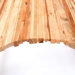 Upcycled jagged wooden desk made of glued repurposed planks and slats Square Upcycling