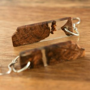 Upcycled earrings made of old  wood and epoxy resin Square Upcycling
