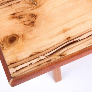 Upcycled coffee table made of a piece of effective plywood finished with epoxy resin Square Upcycling