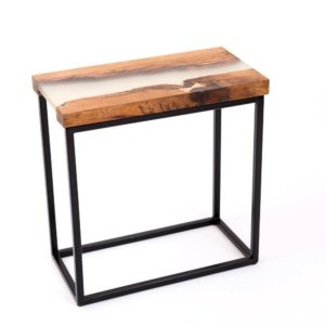 Upcycled small river table made of wooden boards combined with epoxy resin Square Upcycling