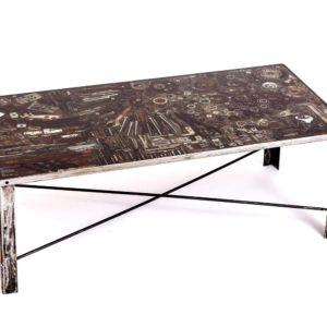 Upcyclingowy metalowy stolik kawowy INDUSTRIAL Square Upcycling