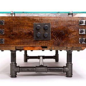Steampunkowy industrialny stolik kawowy Square Upcycling