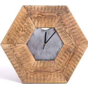 Hexagonal clock made of old wood Square Upcycling