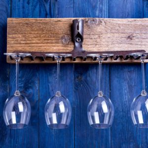 Wine glass hanger made of old steel garden rakes Square Upcycling