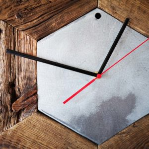 Upcycled wooden hexagonal wall clock made of boards recovered from old scaffolding platforms Square Upcycling